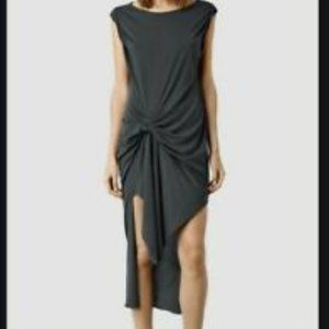 All Saints Jersey Rivera Dress Dark Grey